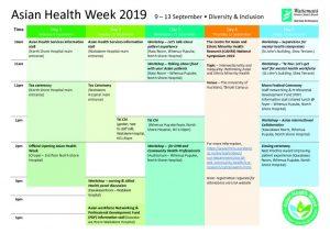 Asian Health Week 2019 – Calendarのサムネイル